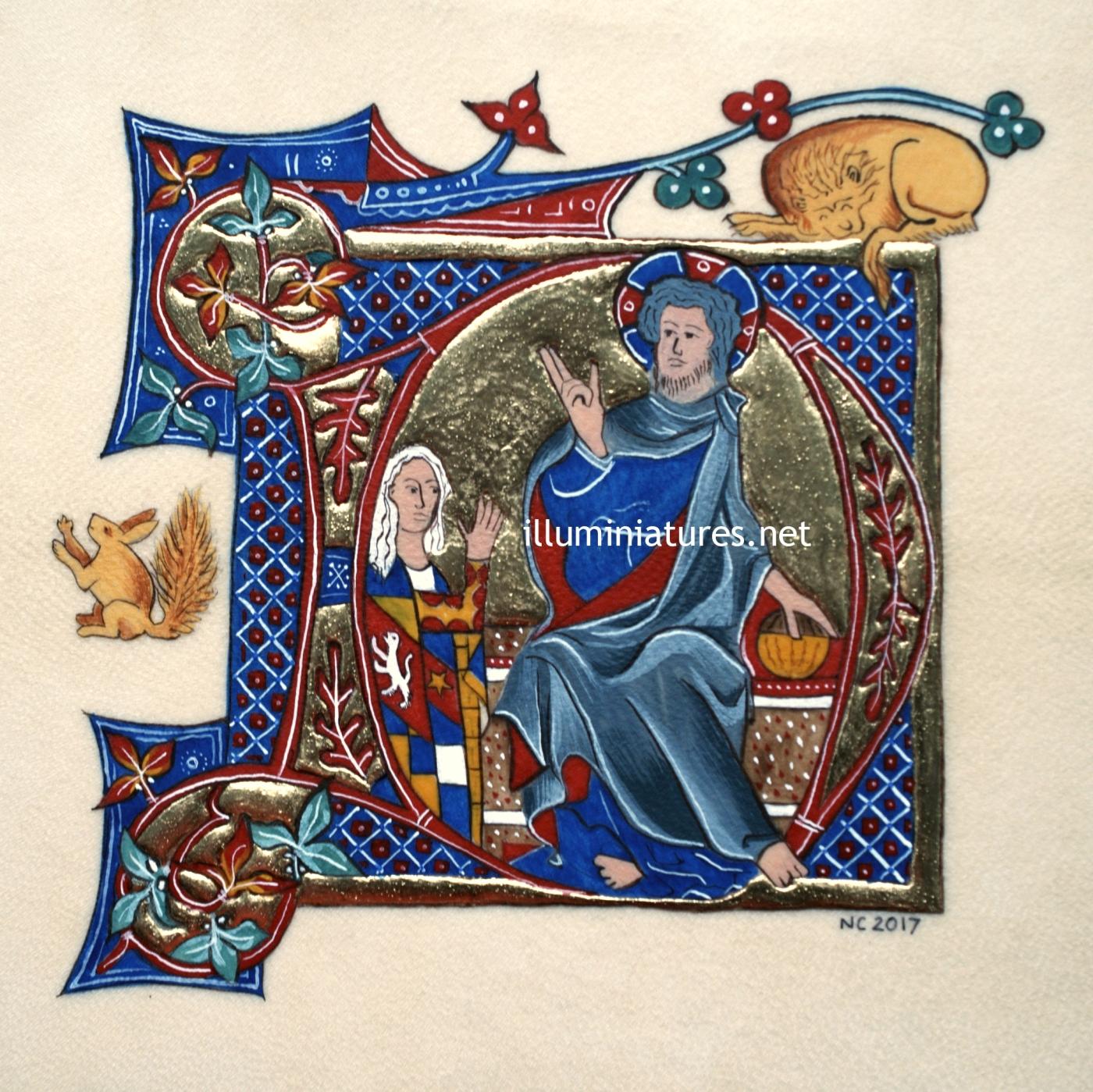 D initial from the Grey-Fitzpayn Book of Hours / Initiale D du Livre d'Heures de Grey-Fitzpayn