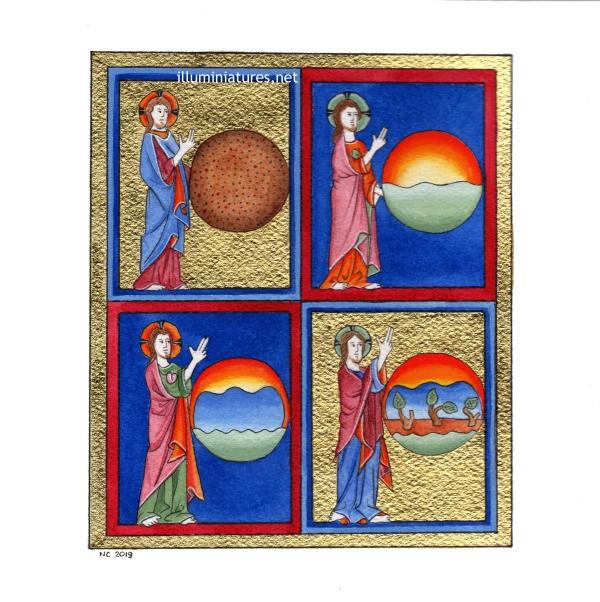 God creating the world / Dieu créant le monde